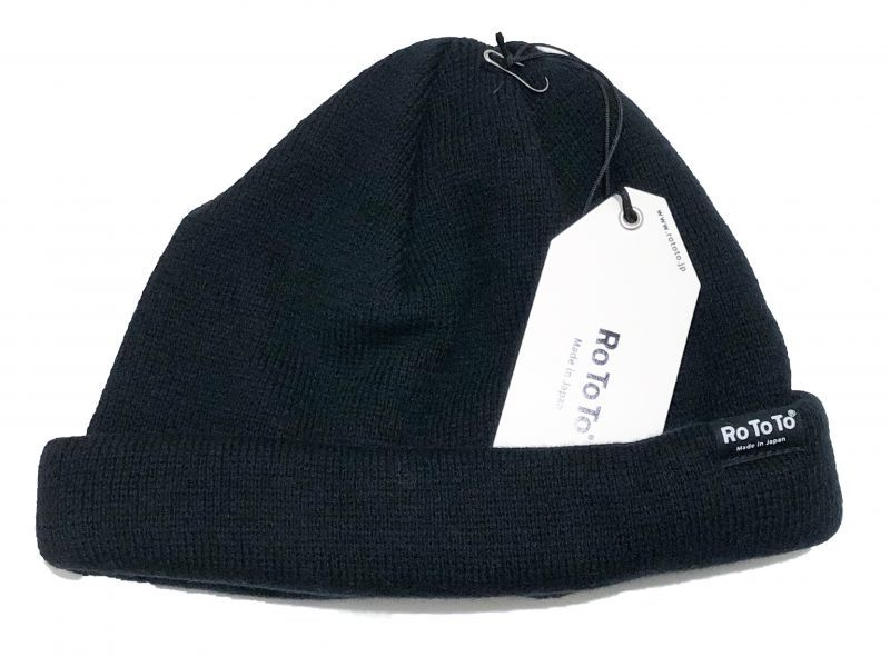 ROTOTOの COTTON CASHMERE ROLL UP BEANIE  ブラック