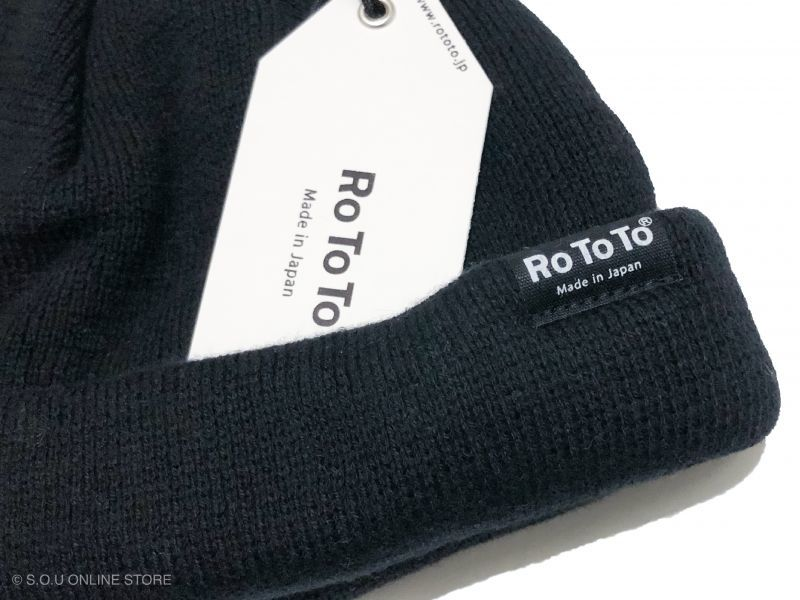ROTOTO (ロトト)のCOTTON CASHMERE ROLL UP BEANIE  ブラック