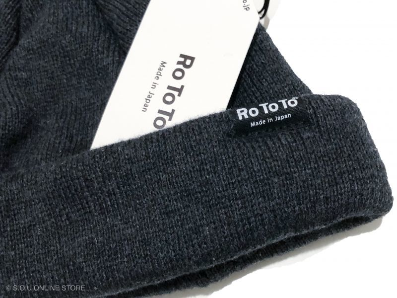 ROTOTOの COTTON CASHMERE ROLL UP BEANIE チャコール