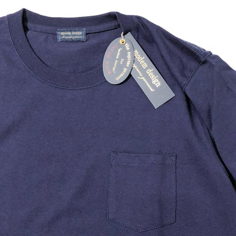 モデムデザインのUSA Cotton Pocket Tee ネイビー