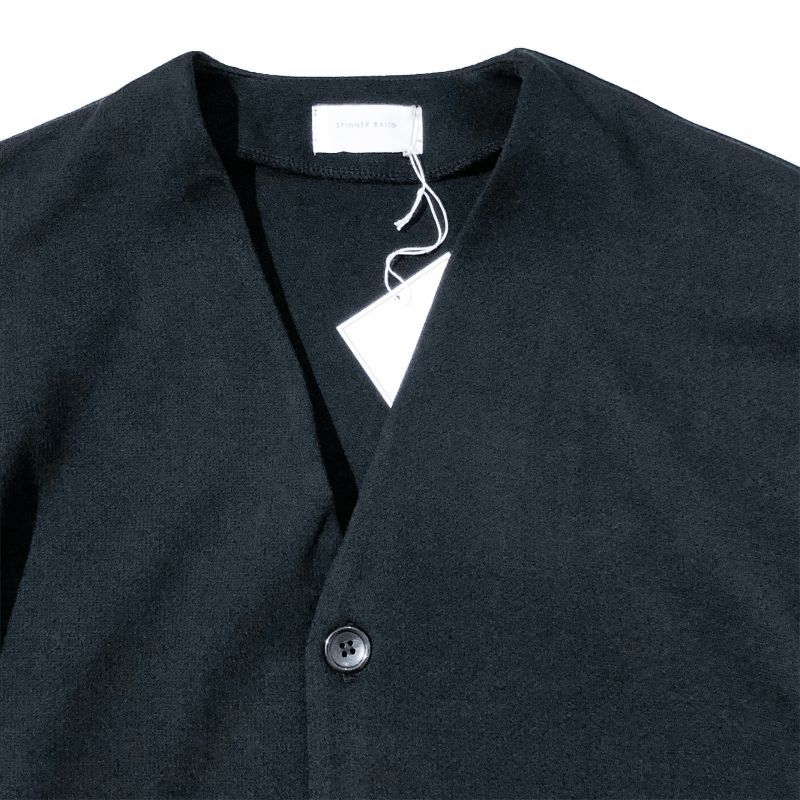 スピナーベイトのリブカーディガン セータージャージ  ブラック